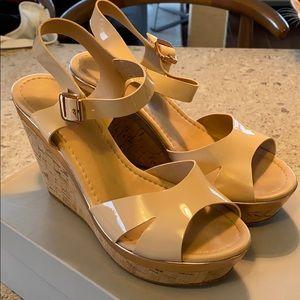 Carvela Kab Nude Patent Wedge Sandal Size 38